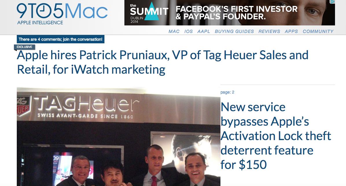Appleが高級時計ブランドのタグ・ホイヤーの幹部さんを引き抜きましたけど