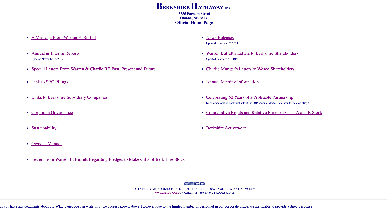 バークシャハサウェイホームページ画像